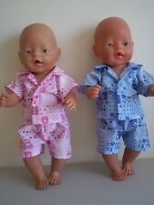 BABY BORN DOLLS CLOTHES PINK OR BLUE  SUMMER  PJ'S