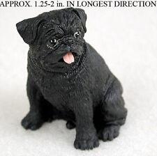 Pug Mini Resin Hand Painted Dog Figurine Black