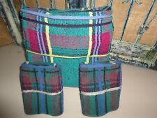 ROYAL VELVET FIELDCREST BLUE BLACK RED GREEN PLAID (3PC) WASHCLOTHS & BATH TOWEL