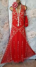 red gold bead lace kaleidoscope 20s Deco flapper gatsby prom Evening Dress 8 10