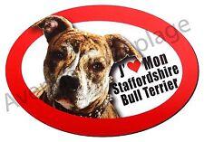 "Magnet chien ""J'aime mon Staffordshire Bull Terrier"" frigo/voiture NEUF"