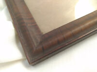 Antique Tiger Wood Oak Solid Picture Frame Glass Painting Victorian 1900s VTG