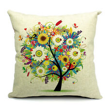 Vintage Linen Cotton Couch Sofa Cushion Cover Throw Pillow Flower Tree 45X 45 cm