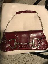 Rina Rich Womens Fashion handbag Deep Red Studded Clutch