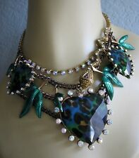 BETSEY JOHNSON ASIAN JUNGLE BLUE/GREEN LEOPARD HEART STATEMENT NECKLACE~RARE