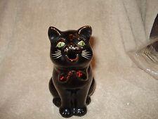 "Vtg Set Shafford Redware Black Cat Creamer & Sugar 1951 Green Eyes Red Bow 5.5"""