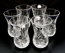 Set of 6,Turkish Black Tea Armudu Cup, 4 oz Belarus Cut Crystal HAND MADE