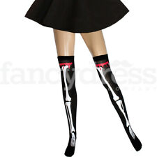 Skeleton Stockings with Blood Zombie Ladies Thigh High Halloween Fancy Dress NEW
