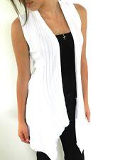 Ladies Knit Vest Jacket Drape Cardigan Wrap Jacket Women One Size White New