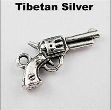 15/60Pcs Retro Tibet Silver Gold Pistol Guns Charms Pendants DIY 21mm