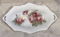 "Antique Bone China Candy~Trinket~Side Dish Slit Handles Pink Roses 7"" - FreeShip"