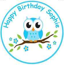"""OWL 7.5"""" ROUND  BLUE  OWL EDIBLE PERSONALISED CAKE TOPPER ON ICING SHEET"""
