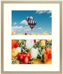 8x10 Gold Aluminum Metal Frame - Ivory Mat Included - Fits Two 4x6 Photos/Pi