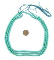 Turquoise Ceramic Afghani Bicone Beads 5mm Afghanistan Green Clay 17 Inch Strand