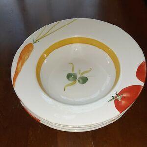 """(4) Crate & Barrel Judith Mosse Kruger 11"""" Serving Pasta Vegetable Bowls"""