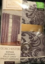 "Dorchester - Damask Jacquard - Curtains - Mauve - 46X72"" - Brand New"