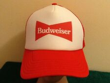 Budweiser Red and White Foam Trucker Mesh Snapback Hat Retro Style NWOT