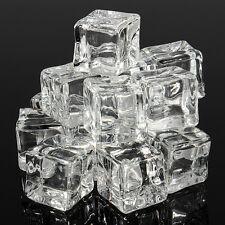 2-10pcs Artificial Acrylic Ice Cubes Crystal Clear Bar Display 1/1.5/2cm Magic