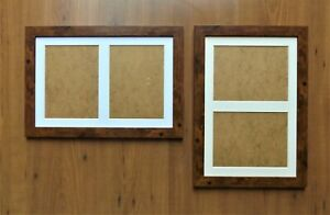 """Double Aperture Mounted Picture Frame Dark Rustic finish - for 8x6"""" prints"""