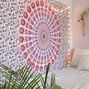 Indian Omber Mandala Hippie Bohemian Wall Hanging Tapestry Twin Size Bedsheet