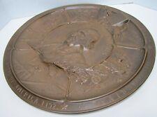 19c Bronze COLUMBIAN EXPO CHICAGO Plaque Discovery of America TONETTI PARIS 1892