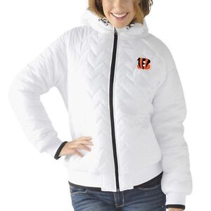 Cincinnati Bengals Womens Drop Back Hooded Full Zip Jacket White by G-III