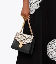 Tory Burch Juliette Snake Chain Leather Mini Bag Shoulder/Crossbody BlackNatural