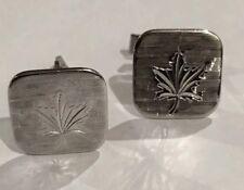 Estate Fine Rare Bond Boyed Canadian Maple Leaf Sterling Silver Cuff Links