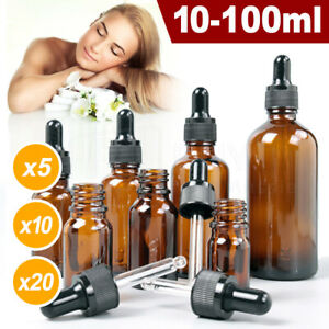 Amber Glass Bottle Dropper Pipette Liquid Reagent Perfume Eye Essential Oils AU