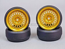 RC 1/10 DRIFT WHEELS Package 0 Degree 3MM Offset GOLD MESH