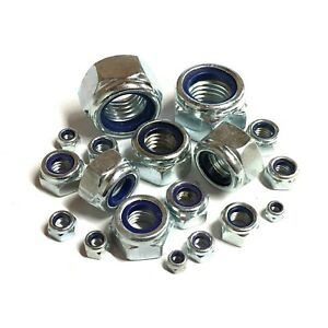 """UNF Nyloc Nuts - BZP Steel - 1/4"""" 5/16"""" 3/8"""" 7/16"""" 1/2"""" 5/8"""" 3/4"""""""
