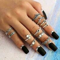 11pcs Silber / Gold Boho Stack Plain über Knuckle Ring Set Fingerringe Midi V8O9