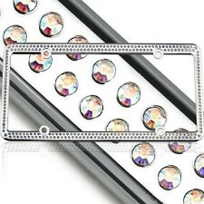 Swarovski AB Crystal Bling license plate frame Inlay With Matching Screw Caps