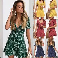 Women Floral Plunge V Neck Mini Dress Short Sleeve Knotted Summer Beach Sundress
