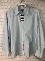 Lands End Womens Size 16 Striped Blouse Dress Shirt No Iron NWT Long Sleeve