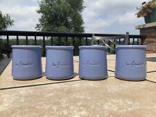4 La Fermiere periwinkle Blue Terra Cotta Pottery Yogurt Pots