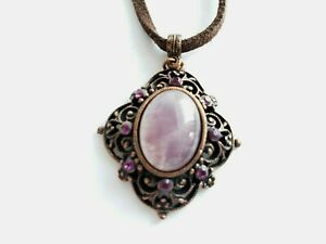 1928 Brown Leather Cord Pink Crystal Pendant Necklace