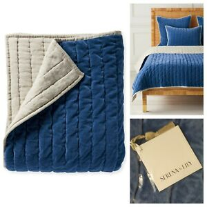 Serena and Lily Delwood Velvet Quilt Full / Queen French Blue NWT Retails $378