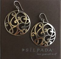Silpada Sterling Silver Scroll Cut Out Round Circle Weave Earrings W2137