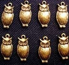 8 Owl Charms  Bronze Tone Metal 20mm