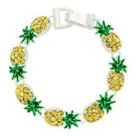 Pineapple Charm Fashionable Chain Bracelet - Yellow Crystal - Magnetic Clasp