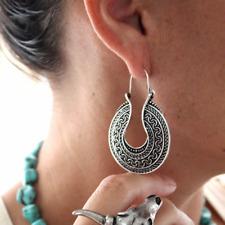 Tribal Ethnic Carved Hoop Earrings, Bohemian Boho Gypsy Hippie Style