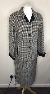 Fisher Coordinates Vintage Woman's Skirt Suit Small Check Black / Beige Size 10