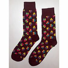 NWT Geometric Heart Brown Dress Socks Novelty Men 8-12 Brown Fun Sockfly