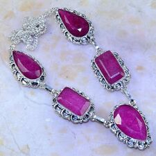 "Handmade Cherry Ruby Natural Gemstone 925 Sterling Silver Necklace 18.25"" K58324"