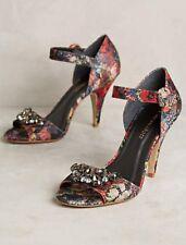 Anthropologie Raphaella Booz Winter Floral Caro Rhinestone Embellished Heels 8