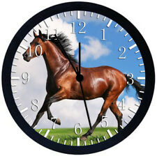 Beautiful Horse Black Frame Wall Clock Nice For Decor or Gifts E425