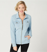 Denim & Co. Comfy Knit Denim Zip-Front Jean Jacket - Bleach Wash - 2X