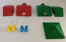 Lincoln Logs Green Red Roof Pieces Blue Yellow Chimney Plastic Accessory