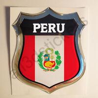 Pegatina Perú 3D Escudo Emblema Vinilo Adhesivo Resina Relieve Coche Moto